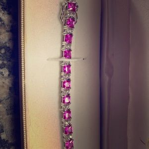 Pink and White Sapphire Bracelet